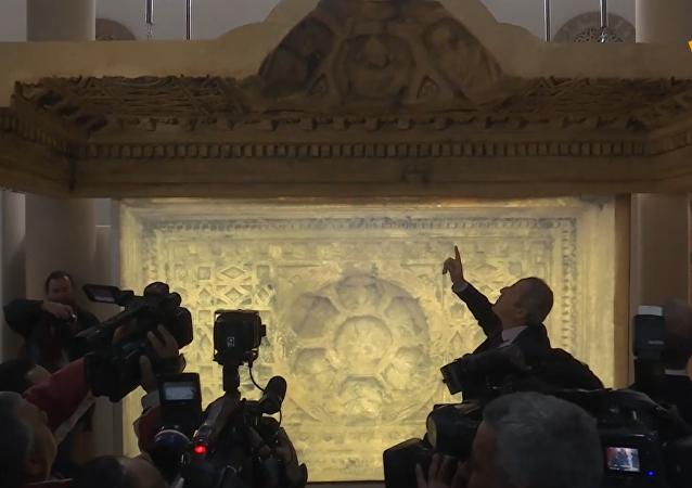 大馬士革博物館接收巴爾神廟天花板複製品