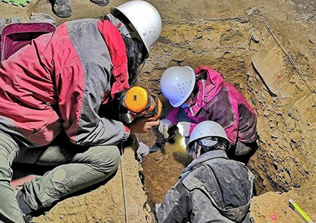 中國甘肅省夏河縣白石崖的一處洞穴(考古發掘工作)