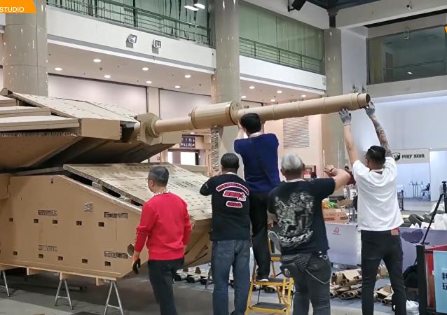 中國模型專家紙板打造以色列Merkava MK4坦克
