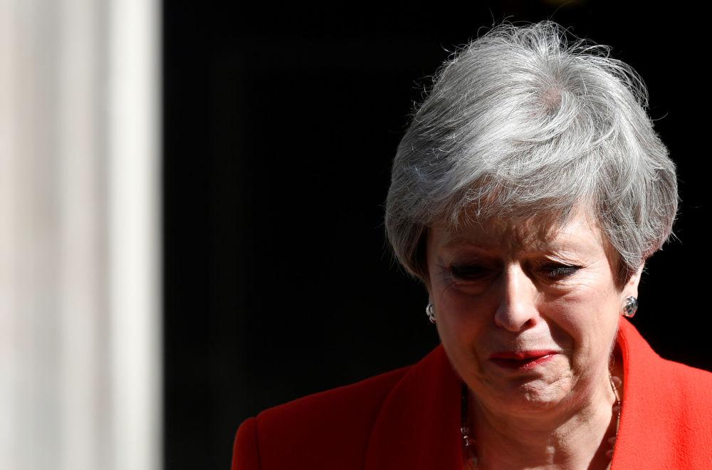 英國首相特雷莎·梅在英國倫敦發表辭職聲明。