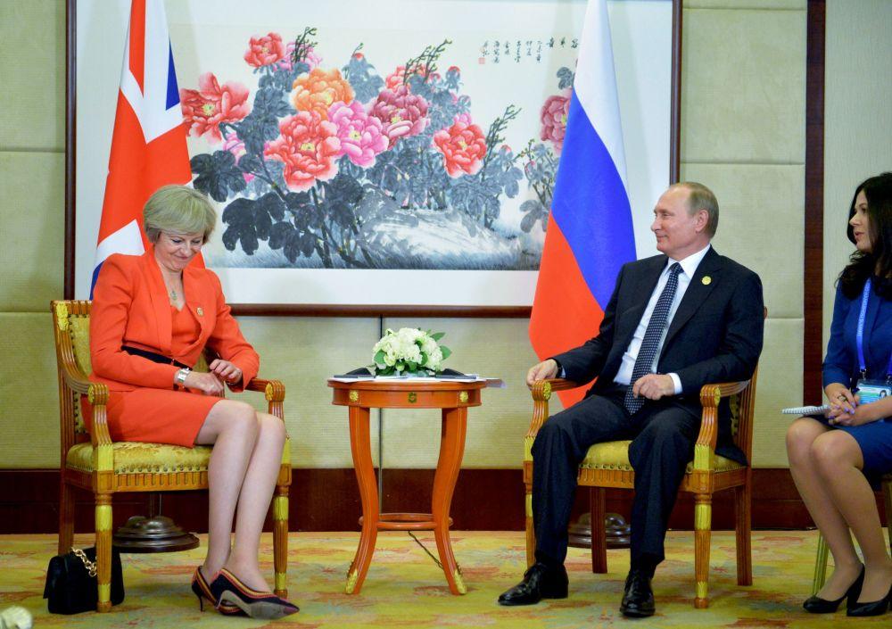 英國首相特蕾莎·梅和俄羅斯總統普京在杭州G20峰會上。
