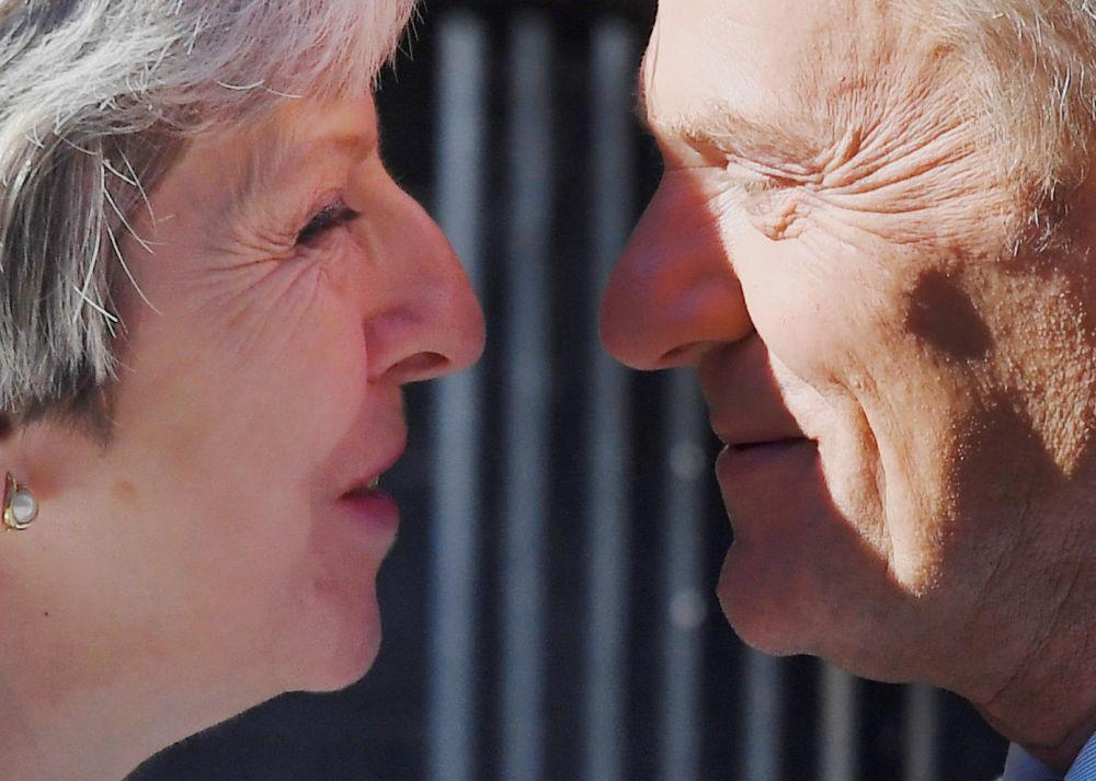 英國首相特蕾莎·梅與歐洲理事會主席唐納德·圖斯克在倫敦舉行會晤。