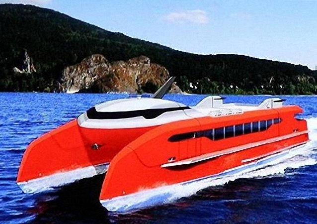俄羅斯設計出適合在西伯利亞河道使用的高速雙體船