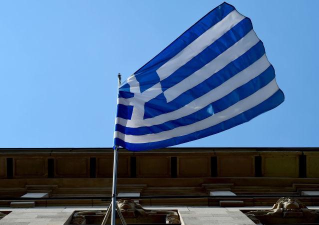 Грееский флаг на здании Посольства Греции в Берлине