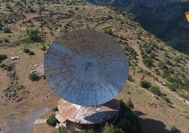 航拍亞美尼亞境內前蘇聯射電望遠鏡