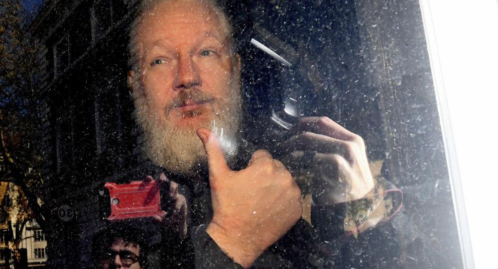 Основатель WikiLeaks Джулиан Ассанж в полицейском фургоне после того, как британская полиция арестовала его возле посольства Эквадора в Лондоне