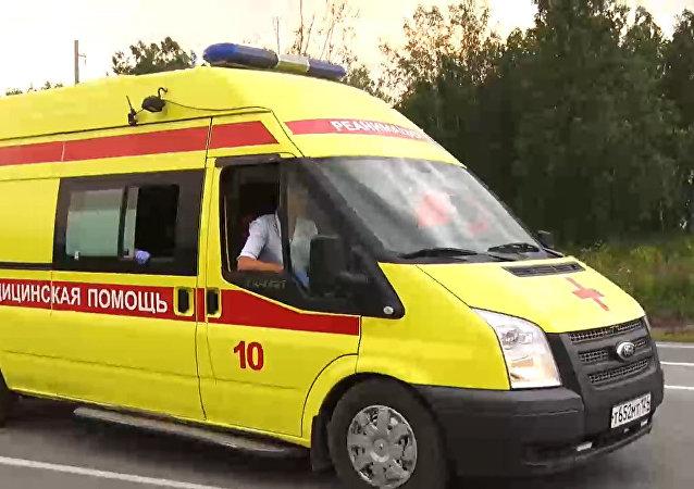 救護車在克拉斯諾亞爾斯克邊疆區阿欽斯克區