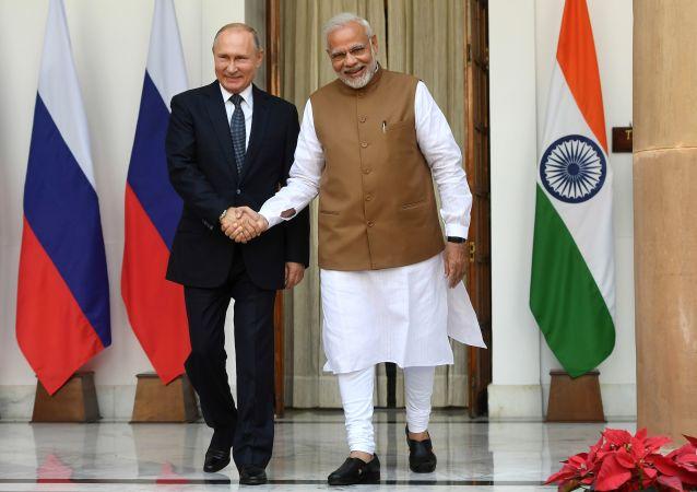 俄羅斯總統普京與印度總理納倫德拉·莫迪(資料圖片)