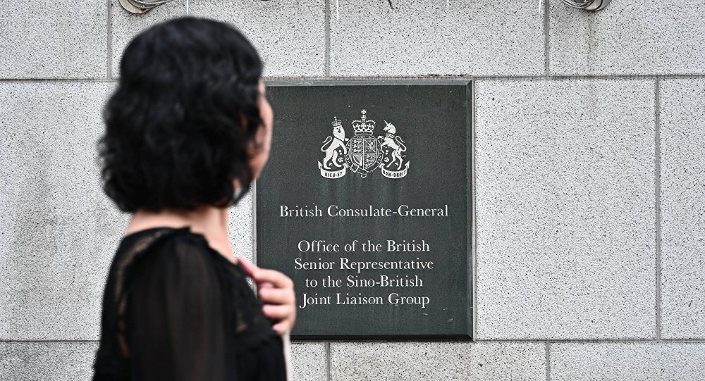 中國政府拘留一名英國駐港總領館工作人員