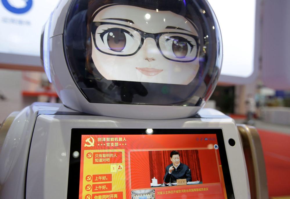 2019世界機器人大會期間創澤智能機器人(Chuangze)屏幕上的中國國家主席習近平。