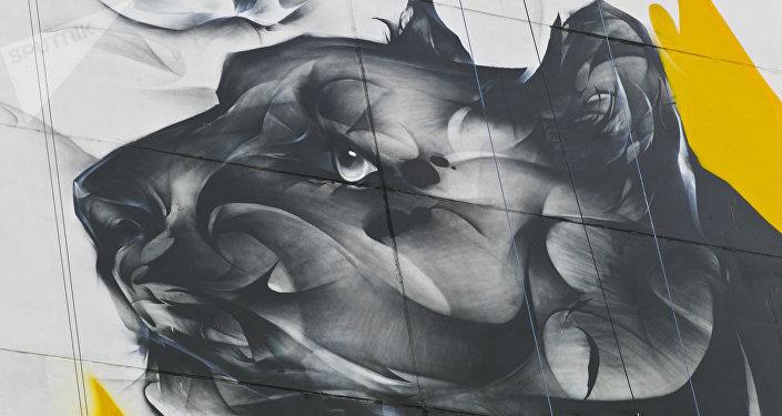 這一次我畫的是一黑一白,想像中國裡面的陰陽一樣,有極跟反,就想表達說就是甚麼事情都是有兩面性的,有亮的一面也有暗的一面