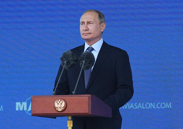 普京抵達莫斯科國際航展會場