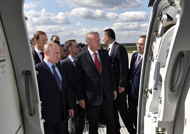 普京與埃爾多安參觀莫斯科國際航展