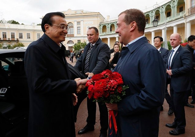 俄中兩國總理前往聖彼得堡郊外文物保護區博物館參觀