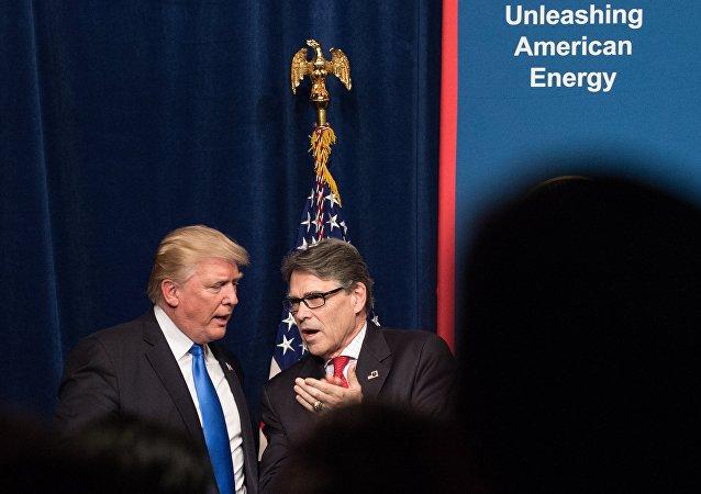美國總統特朗普與能源部長里克•佩里
