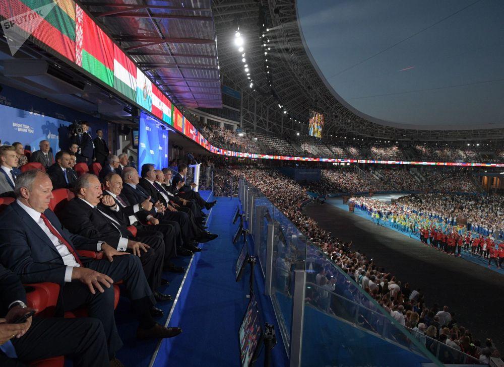 2019年6月30日,俄羅斯聯邦總統普京在明斯克舉行的第二屆歐洲運動會閉幕式上。