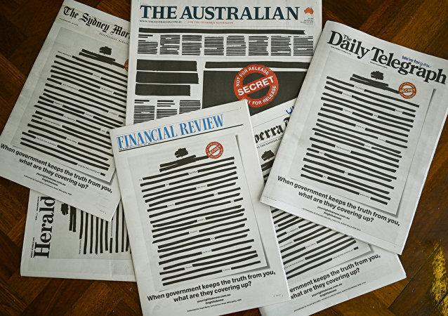 澳大利亞多家報紙「塗黑」頭版以示抗議