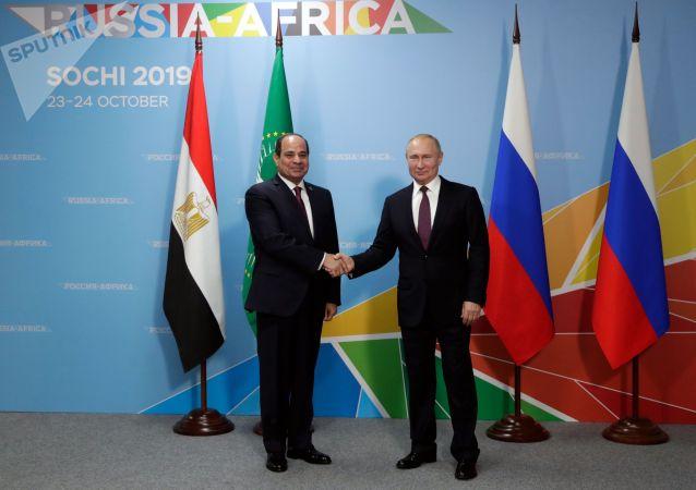 俄羅斯總統普京(右)和埃及總統塞西