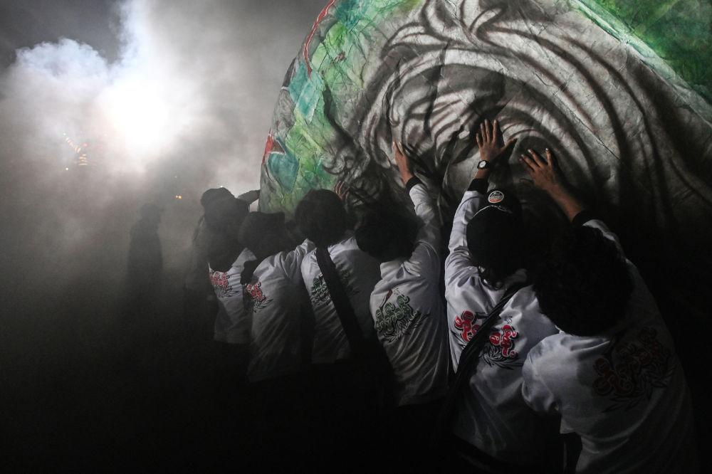 緬甸2019年「光明節」上的熱氣球節日表演開幕式