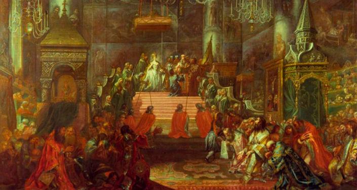 畫作《葉卡捷琳娜二世在克里姆林宮聖母升天大教堂內加冕》, 18世紀下半葉