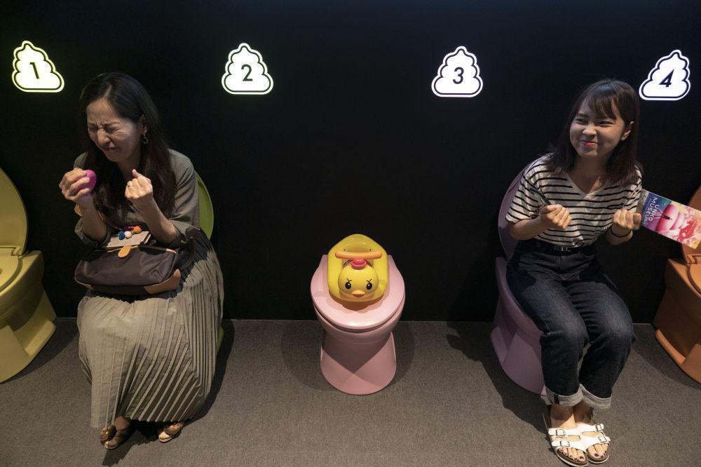 日本「大便博物館」內的馬桶上的訪客