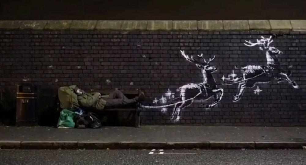 班克斯在伯明翰繪制聖誕節塗鴉