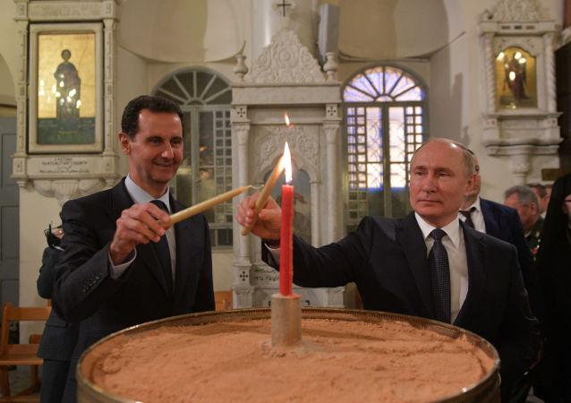 普京與阿薩德參觀了大馬士革的聖瑪麗亞教堂