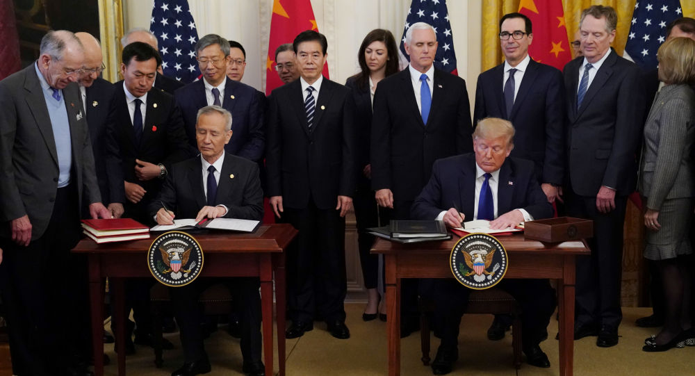 中美簽署經貿協議的第一批文件