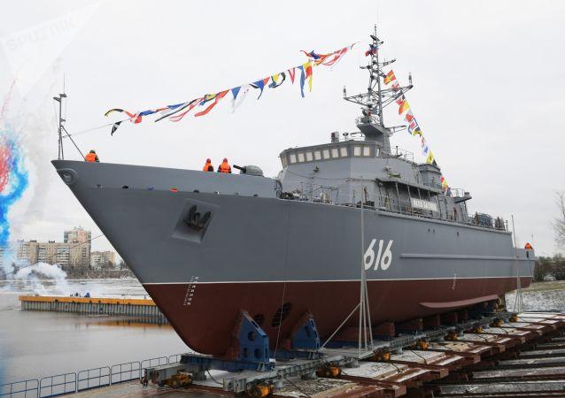 最新掃雷艦「雅科夫·鮑亞耶夫」號在聖彼得堡下水