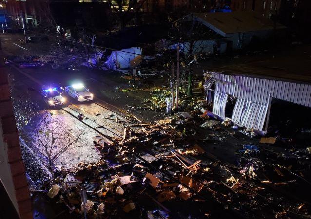 美國納什維爾市遭到龍捲風襲擊