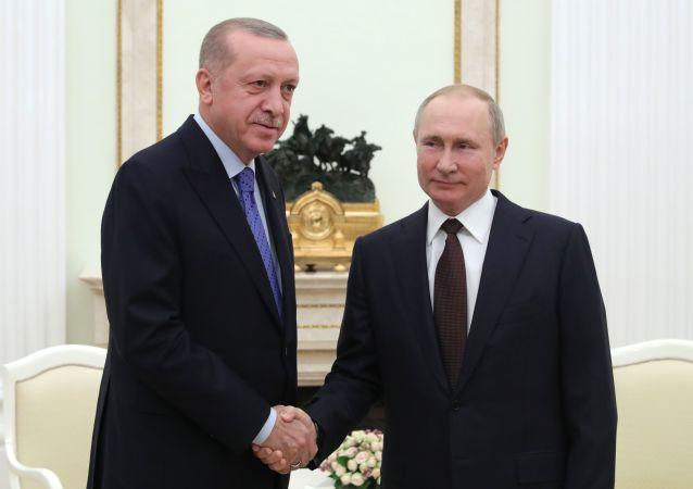土耳其總統埃爾多安(左)與俄羅斯總統普京