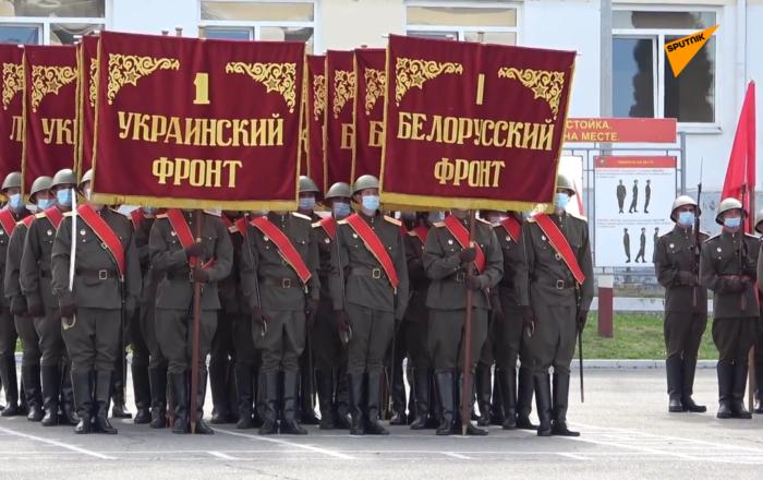 莫斯科舉行勝利日閱兵式徒步方隊彩排