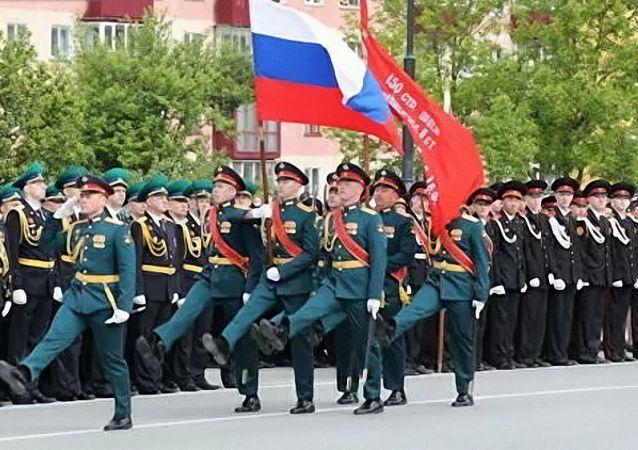 勝利日軍事閱兵式在南薩哈林斯克